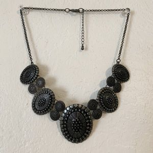 Metallic Silver Statement Necklace
